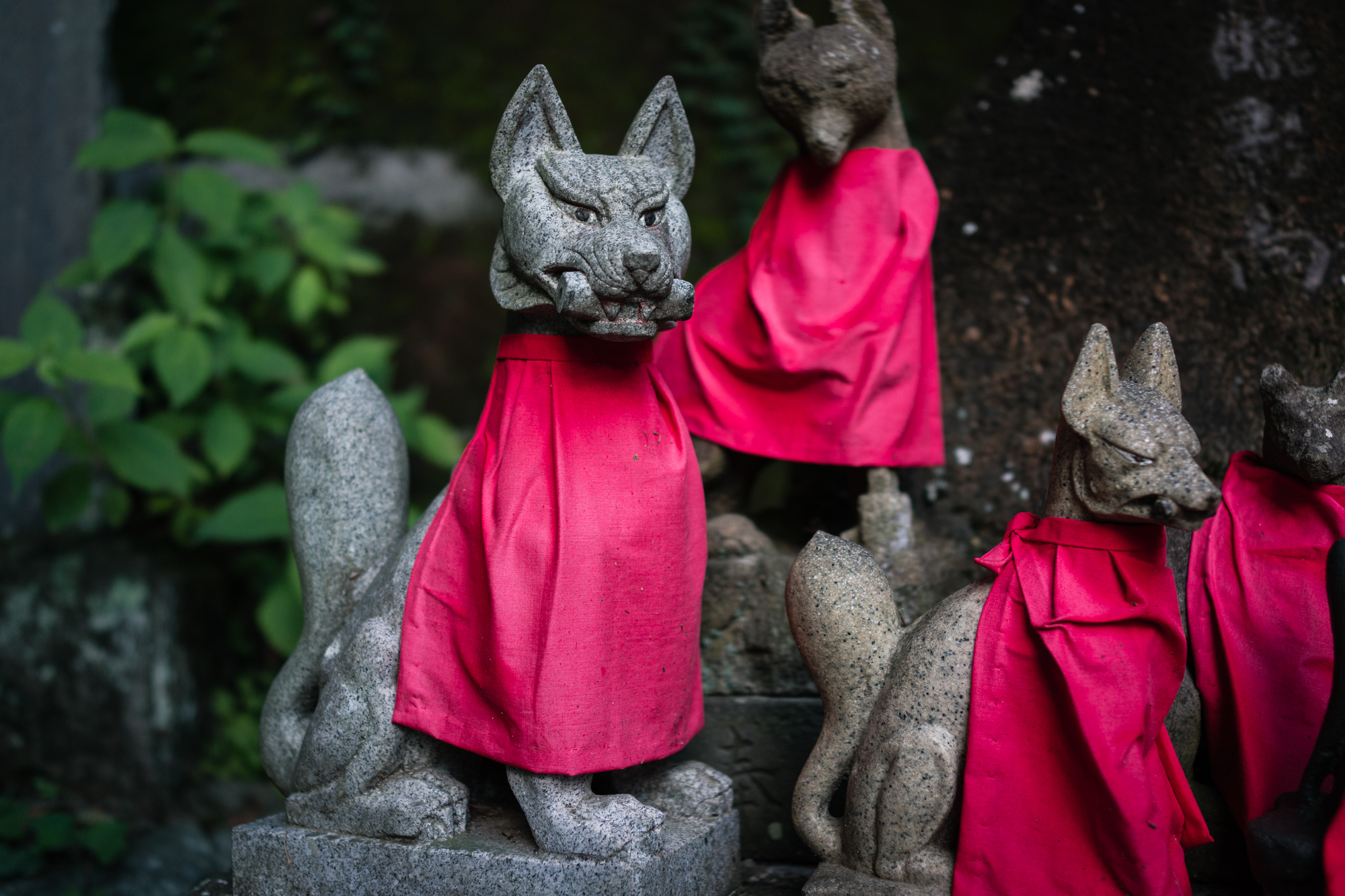 Kitsune Statues of Yakuo-in Temple on Mt. Takao