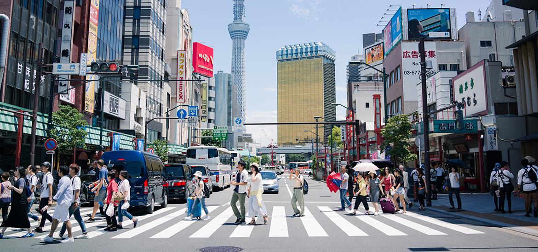 Street Crossing in Asakusa Japan