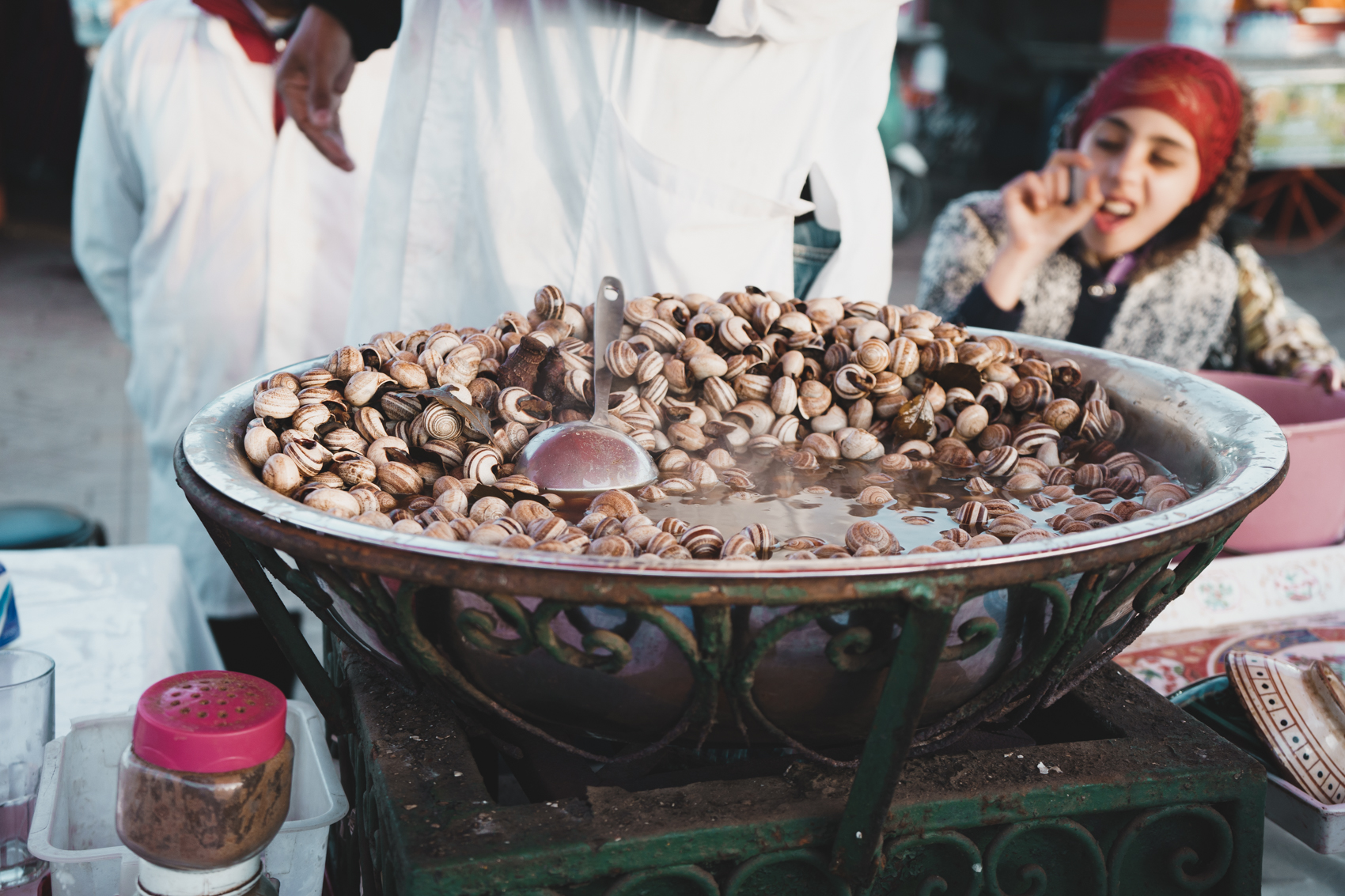 Snail Soup at Jemaa el-Fnaa Night Market in Marrakech, Morocco