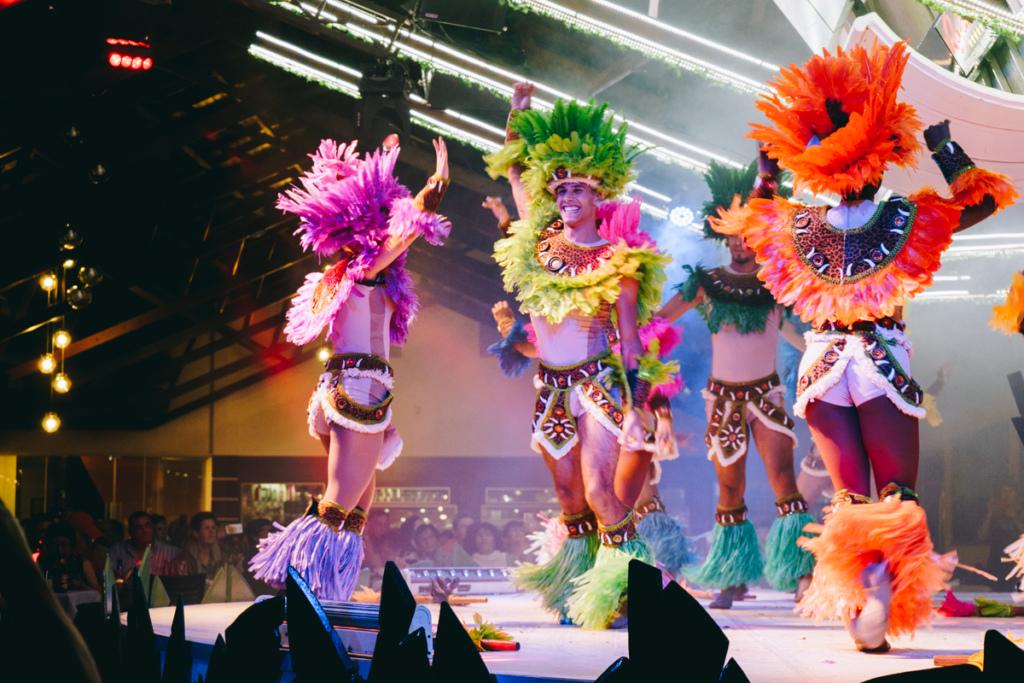 Samba dancers at a churrascaria in Brazil
