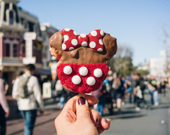 Minnie Mouse themed rice krispie pop from Candy Palace on Main Street, Disneyland.