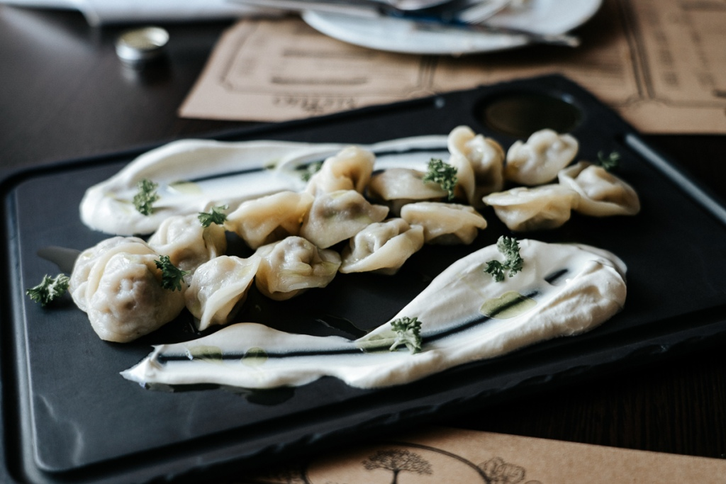 Traditional pelmeni, served up beautifully